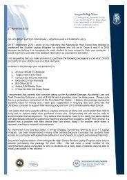 2nd November 2012 RE: STUDENT LAPTOP PROGRAM – YEARS ...