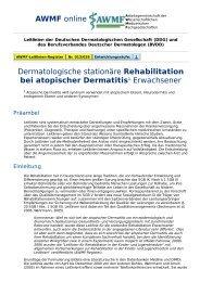 AWMF online - S1-Leitlinie Dermatologie: Rehabilitation atopischer ...