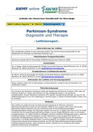AWMF online - S2-Leitlinie: Parkinson-Syndrome - Leitlinienreport -
