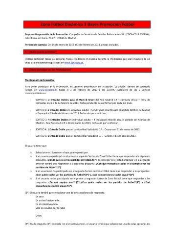 Zona Fútbol Dinámica 3 Bases Promoción Fútbol - Coca-Cola