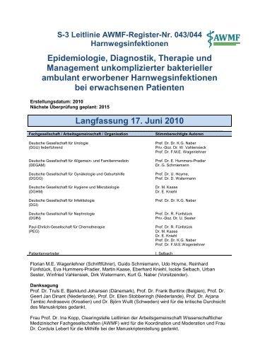 Epidemiologie, Diagnostik, Therapie und Management - AWMF