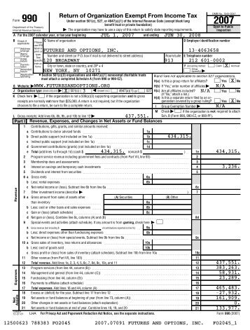 Form 990 FY 2008 - Futures and Options