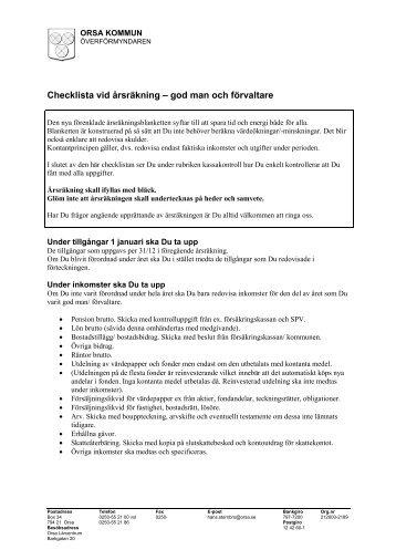 Checklista vid årsräkning – god man och förvaltare