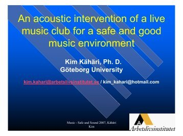 An acoustic design of a live music club for a safe and good music ...