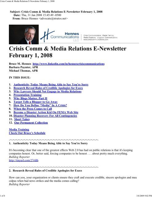Crisis Comm Media Relations E Newsletter February 1 2008