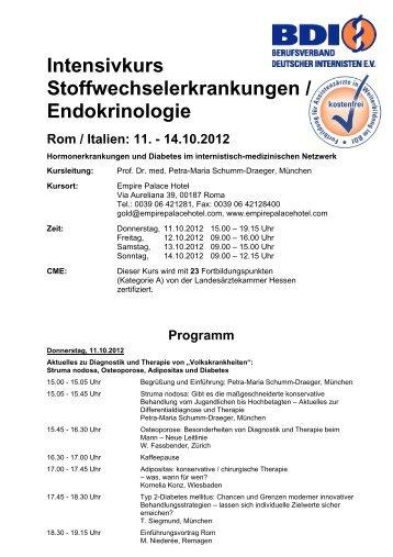 Intensivkurs Stoffwechselerkrankungen / Endokrinologie - beim BDI