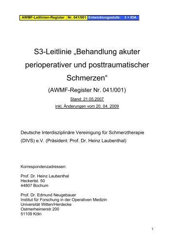 S3-Leitlinie 'Behandlung akuter perioperativer und - AWMF