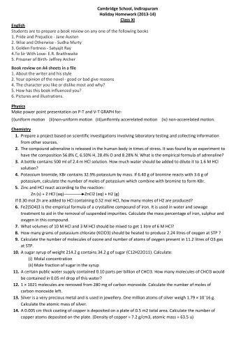cambridge school indirapuram holiday homework class 6