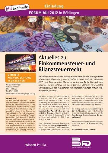 Aktuelles zu Einkommensteuer- und Bilanzsteuerrecht