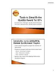 Courtney Krier, Manager, Quality Award Program ... - CommPartners