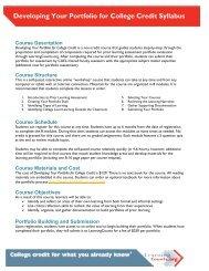 Developing Your Portfolio for College Credit Syllabus