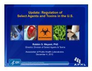Update Regulation of Select Agents and Toxins in the U.S