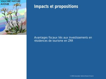 Impacts et propositions