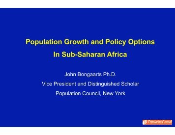 Population Growth and Policy Options In Sub-Saharan Africa