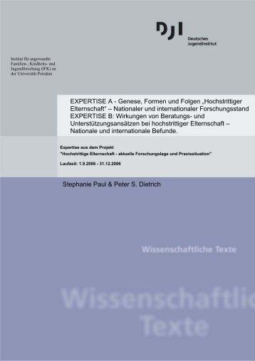 """EXPERTISE A - Genese, Formen und Folgen """"Hochstrittiger ..."""