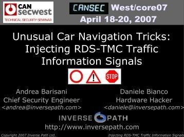 Unusual Car Navigation Tricks Injecting RDS-TMC Traffic Information Signals