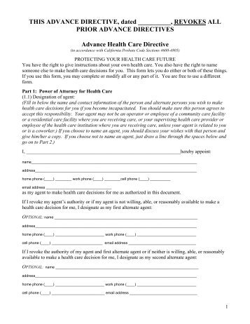 advance care directive template - advanced directive form pdf coalition for