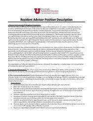 Resident Advisor Position Description