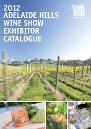 Proud partners of the 2012 Adelaide Hills Wine Show