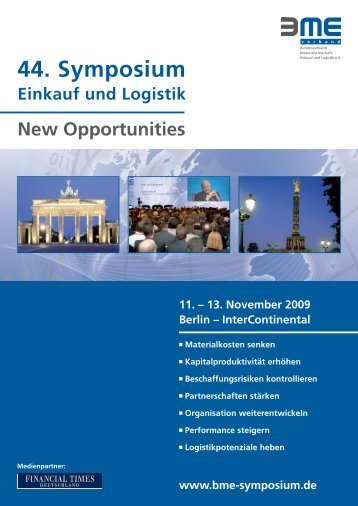 44. Symposium Einkauf und Logistik New Opportunities 11. - BME