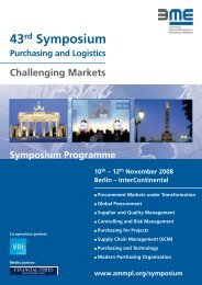 43rd Symposium Purchasing and Logistics Challenging ... - BME