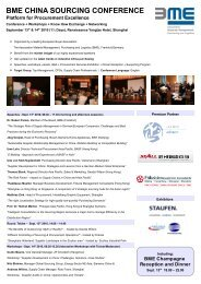 BME CHINA SOURCING CONFERENCE