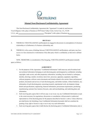 Non Disclosure And Confidentiality Agreement Hida