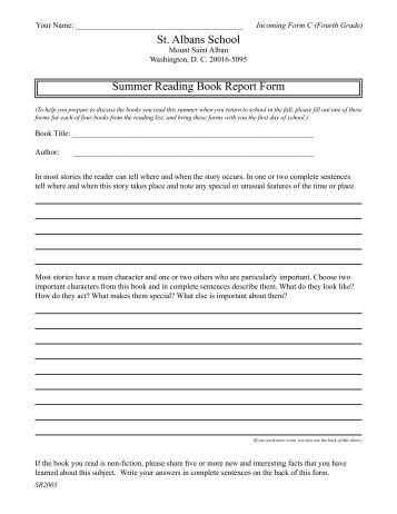 Book report sample for  th graders Book Report Outline Form