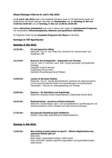 Messe Ditzingen Vital am 8. und 9. Mai 2010 Vorträge ... - in Ditzingen