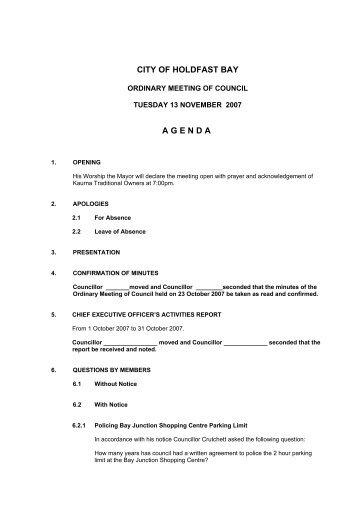 Agenda - 13 November 2007 - City of Holdfast Bay