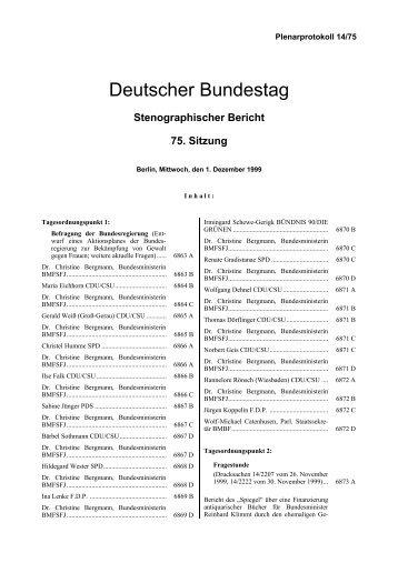 Stenographischer Bericht 75. Sitzung - Deutscher Bundestag