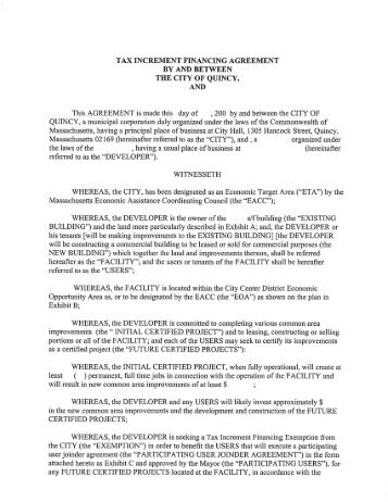 TAX INCREMENT FINANCING AGREEMENT BY AND BETWEEN ...