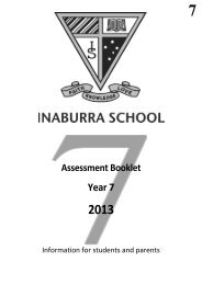 Year 7, 2013 Assessment Booklet - Inaburra School