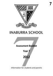 Year 7 Semester 1 Assessment Planner 2012 - Inaburra School
