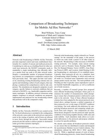 Comparison of Broadcasting Techniques for Mobile Ad Hoc Networks