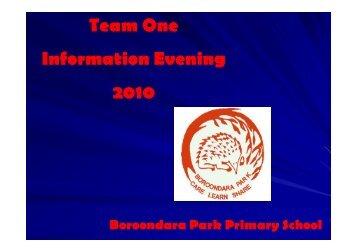 Team One Information Evening 2010