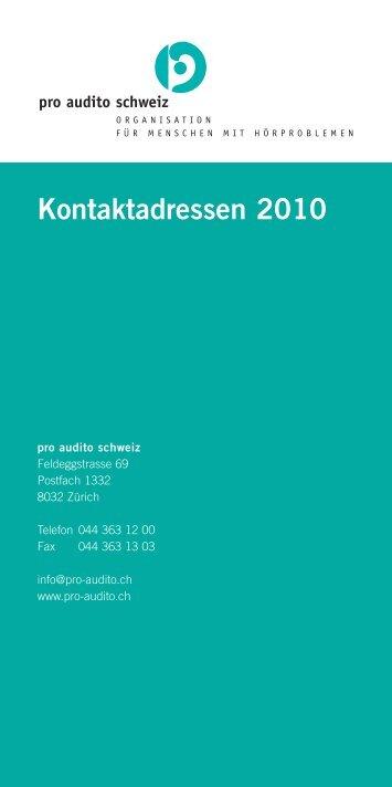 Kontaktadressen 2010 - pro audito Schweiz