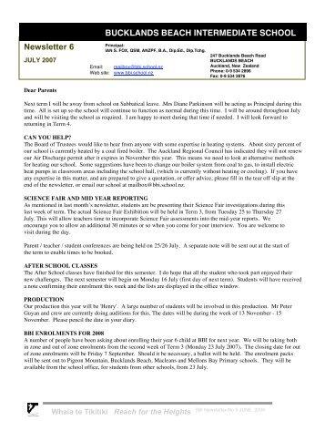 Newsletter 6 BUCKLANDS BEACH INTERMEDIATE SCHOOL