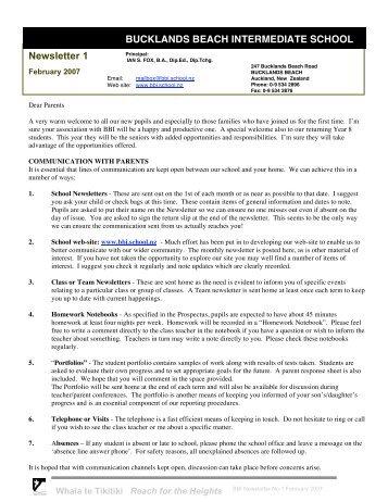 Newsletter 1 BUCKLANDS BEACH INTERMEDIATE SCHOOL