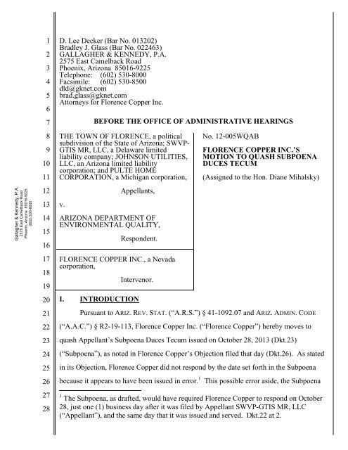 Motion to Quash Subpoena Duces Tecum - Arizona Office of