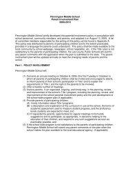 Pennington Middle School Parent Involvement Plan 2009-2010 ...