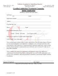 Certified Addictions Treatment Counselor Initial Application