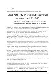 Local Authority chief executives average earnings reach £147,934