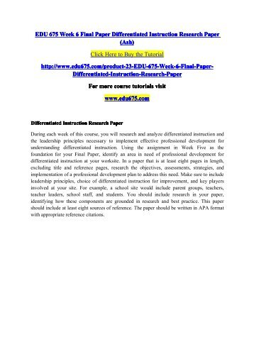 Edu 675 Week 6 Final Paper Differentiated Instruction Research Paperpdf