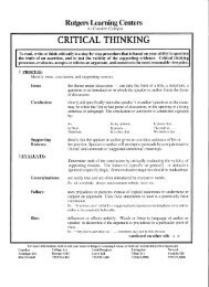 Introduction to Critical Thinking - Rutgers-Camden Learning Center