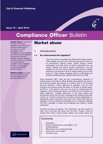 Compliance Officer Bulletin