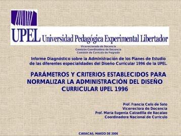 Parámetros y Criterios para Normalizar Diseño 1996 - Universidad ...