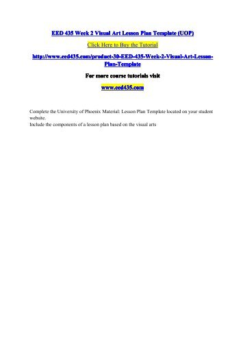 Eed 435 Week 3 Drama Lesson Plan Template Uop