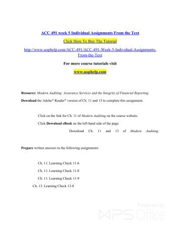 individual assignments from the text Acc400 week 2 e-text individual assignments – chapter 8 questions 3 and 4, exercise e8-5 & exercise e99 get tutorial by clicking on the link below or c acc400 week 2 e-text individual assignments – chapter 8 questions 3 and 4, exercise e8-5 & exercise e99 - term papers - marymartinson.