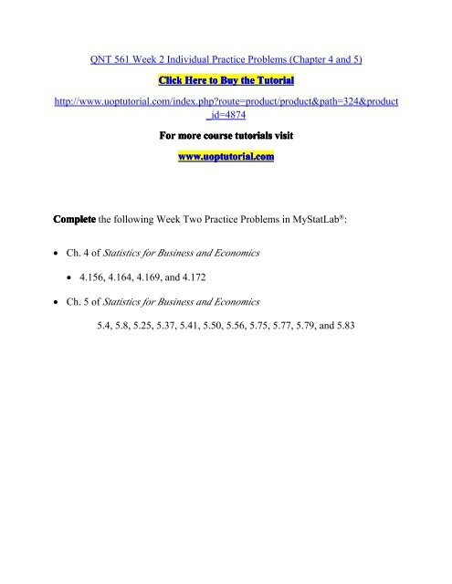 QNT 561 Week 2 Individual Practice Problems Chapter 4 And 5